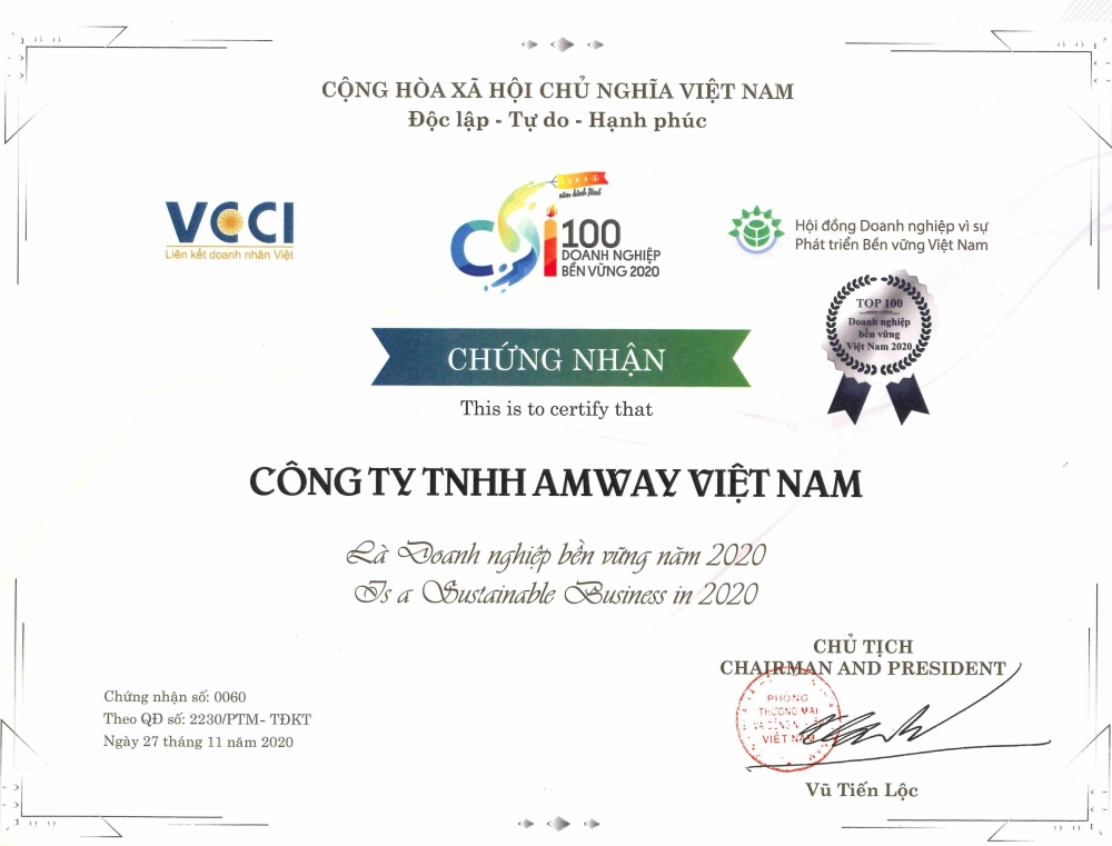 Amway Việt Nam lần thứ 5 liên tiếp được vinh danh trong 100 DN phát triển bền vững hàng đầu Việt Nam năm 2020